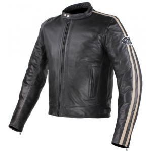 Skórzana kurtka motocyklowa Tschul 640 czarno-beżowa