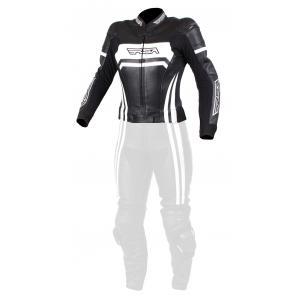 Damska skórzana kurtka motocyklowa RSA Virus czarno-biała wyprzedaż