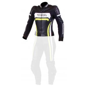 Damska skórzana kurtka motocyklowa RSA Virus czarno-biało-fluo żółta