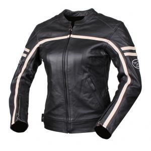 Damska skórzana kurtka motocyklowa Tschul 635 czarno-beżowa