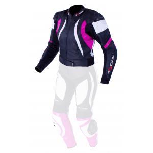 Damska skórzana kurtka motocyklowa Tschul 546 czarno-biało-różowa