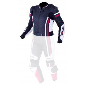 Damska skórzana kurtka motocyklowa Tschul 556 czarno-biało-czerwona wyprzedaż