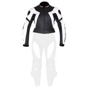 Damska skórzana kurtka motocyklowa Tschul 736 czarno-biała