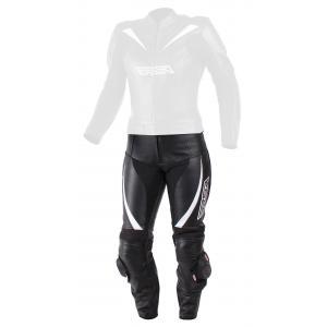 Damskie skórzane spodnie motocyklowe RSA Destiny 2 czarno-białe