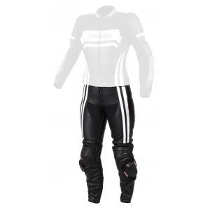 Damskie skórzane spodnie motocyklowe RSA Virus czarno-białe wyprzedaż