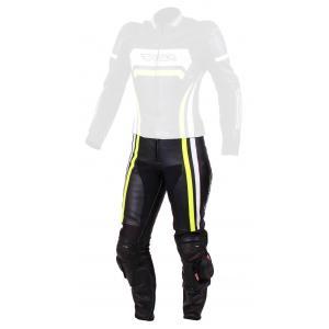 Damskie skórzane spodnie motocyklowe RSA Virus czarno-biało-fluo żółte