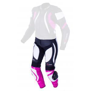 Damskie skórzane spodnie motocyklowe Tschul 546 czarno-biało-różowe