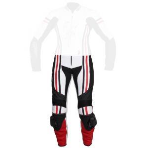 Damskie skórzane spodnie motocyklowe Tschul 554 biało-czarno-czerwone wyprzedaż