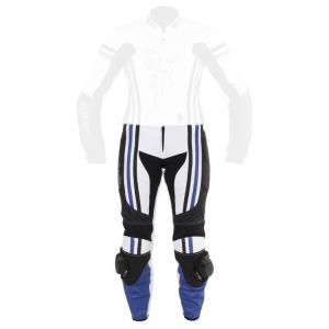 Damskie skórzane spodnie motocyklowe Tschul 554 biało-czarno-niebieskie wyprzedaż