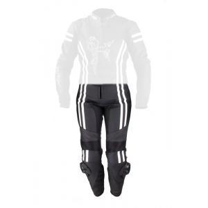 Damskie skórzane spodnie motocyklowe Tschul 554 czarno-białe wyprzedaż