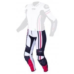 Damskie skórzane spodnie motocyklowe Tschul 556 biało-czarno-czerwone wyprzedaż
