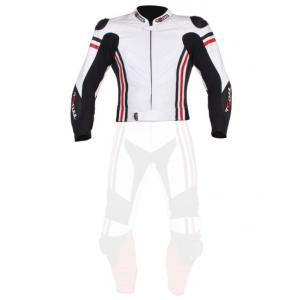 Skórzana kurtka motocyklowa Tschul 555 biało-czarno-czerwona