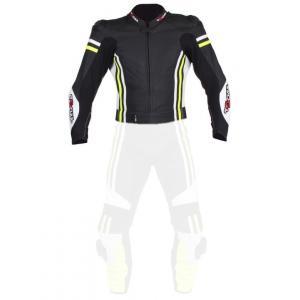 Skórzana kurtka motocyklowa Tschul 555 czarno-biało-fluo żółta