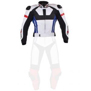 Skórzana kurtka motocyklowa Tschul 580 biało-czerwono-niebiesko-czarna