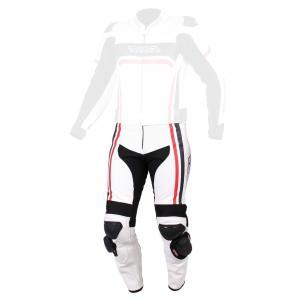 Skórzane spodnie motocyklowe RSA Virus biało-czarno-czerwone wyprzedaż