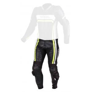 Skórzane spodnie motocyklowe RSA Virus czarno-biało-fluo żółte wyprzedaż