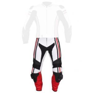 Skórzane spodnie motocyklowe Tschul 555 biało-czarno-czerwone