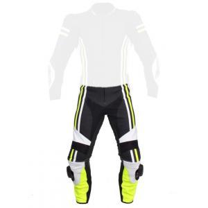 Skórzane spodnie motocyklowe Tschul 555 czarno-biało-fluo żółte
