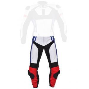 Skórzane spodnie motocyklowe Tschul 580 biało-czerwono-niebiesko-czarne