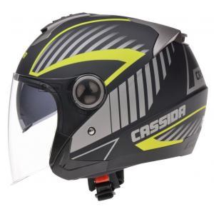 Otwarty kask motocyklowy Cassida Magnum - czarno-szaro-fluo żółty