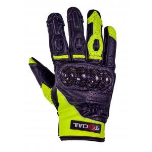 Rękawice motocyklowe Tschul 316 czarno-fluo żółte