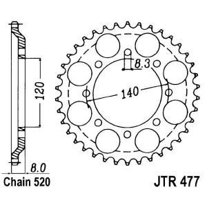 Rear sprocket JT JTR 477-43 43T, 520