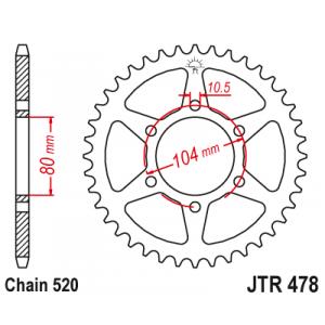 Rear sprocket JT JTR 478-45 45T, 520