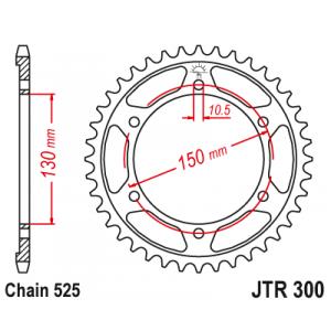 Rear sprocket JT JTR 300-47 47T, 525
