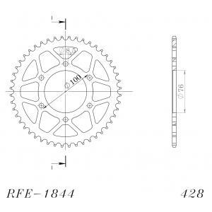 Rear sprocket SUPERSPROX RFE-1844:48-BLK black 48T, 428