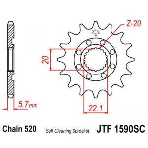 Front sprocket JT JTF 1590-13SC 13T, 520 Self Cleaning Lightweight