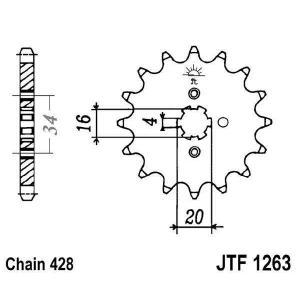 Front sprocket JT JTF 1263-14 14T, 428
