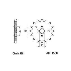 Front sprocket JT JTF 1550-14 14T, 428