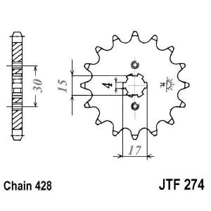 Front sprocket JT JTF 274-15 15T, 428