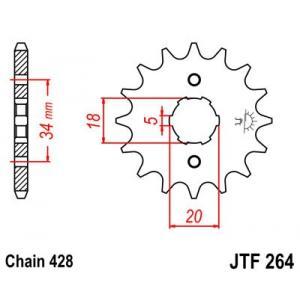 Front sprocket JT JTF 264-15 15T, 428