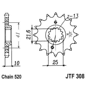 Front sprocket JT JTF 308-15RB 15T, 520 rubber cushioned