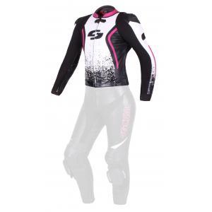 Damska skórzana kurtka motocyklowa Tschul 586 czarno-biało-różowa