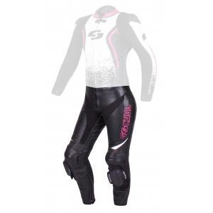 Damskie skórzane spodnie motocyklowe Tschul 586 czarno-biało-różowe