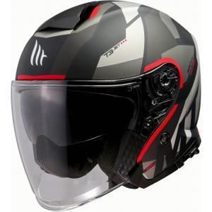 Otwarty kask motocyklowy MT Thunder 3 SV Bow czarno-szaro-czerwony