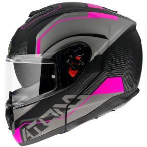Szczękowy kask motocyklowy MT Atom SV Quark czarno-szaro-różowy