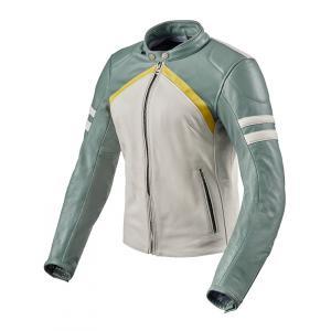 Damska skórzana kurtka motocyklowa Revit Meridian biało-zielona
