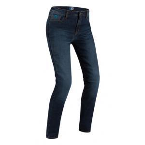 Damskie jeansy motocyklowe PMJ Caferacer Legend ciemno niebieskie