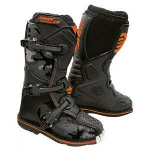 Dziecięce buty motocyklowe Shot K10 2.0 czarno-camo-fluo pomarańczowe