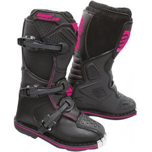 Dziecięce buty motocyklowe Shot K10 2.0 czarno-różowe