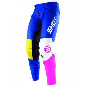 Dziecięce motocrossowe spodnie Shot Devo Storm niebiesko-żółto-biało-różowe