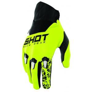 Dziecięce motocrossowe rękawice Shot Devo Storm czarno-biało-fluo żółte