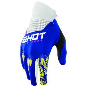Dziecięce motocrossowe rękawice Shot Devo Storm niebiesko-żółto-biało-różowe