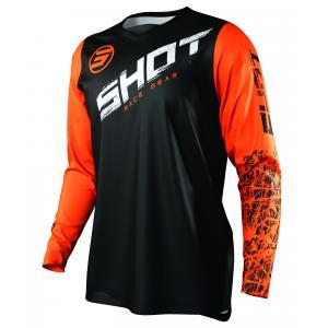 Dziecięca motocrossowa koszulka Shot Devo Slam czarno-biało-pomarańczowa