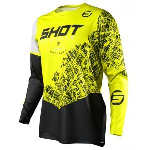 Dziecięca motocrossowa koszulka Shot Devo Storm czarno-biało-fluo żółta
