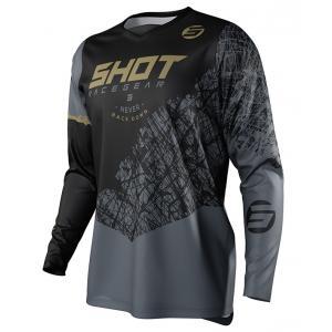 Dziecięca motocrossowa koszulka Shot Devo Storm czarno-szaro-złota