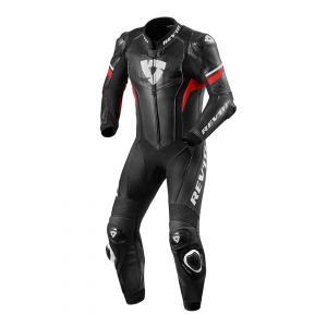 Jednoczęściowy kombinezon motocyklowy Revit Hyperspeed czarno - fluo czerwony